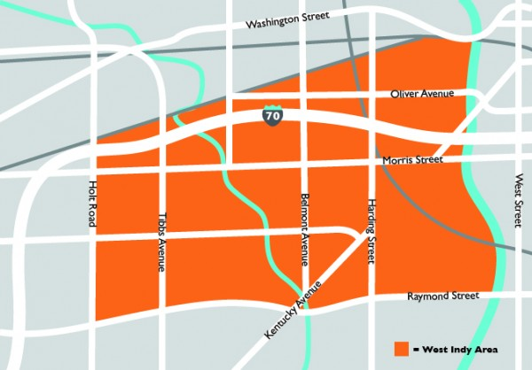 Map of Boundaries – West Indianapolis - West Indianapolis Indianapolis Neighborhood Map on